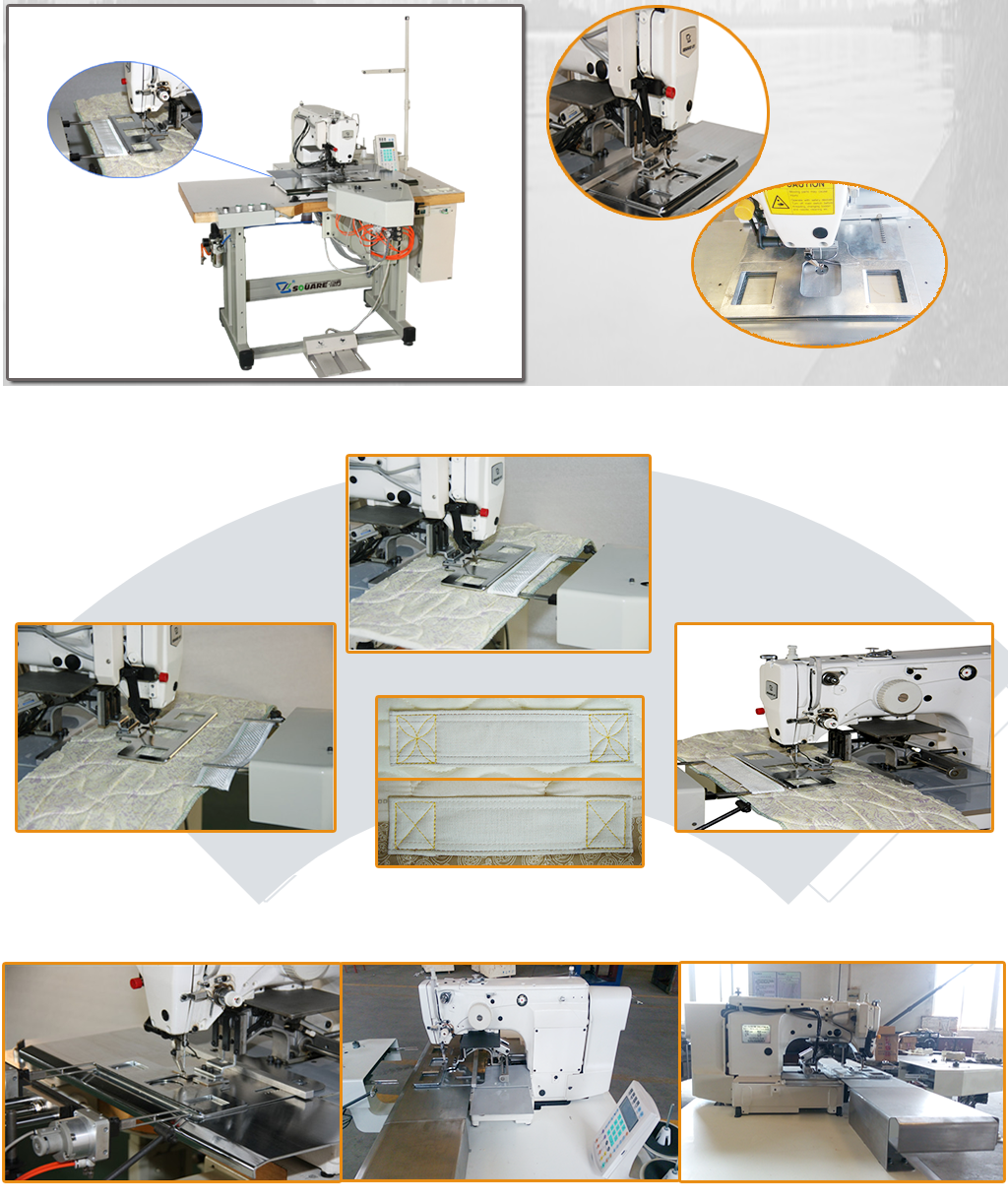 自动双缝式床垫拉手带缝合机